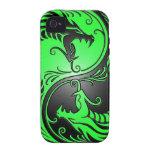 Yin Yang Dragons, green and black iPhone 4 Covers