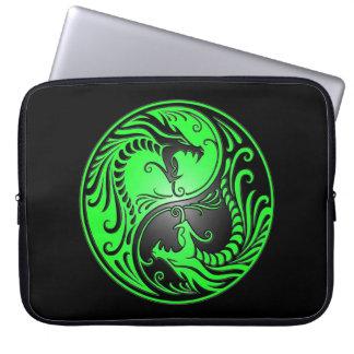 Yin Yang Dragons, green and black Laptop Sleeve