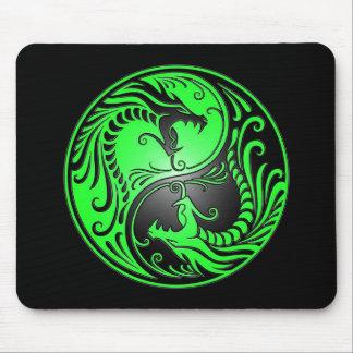 Yin Yang Dragons green and black Mouse Pad
