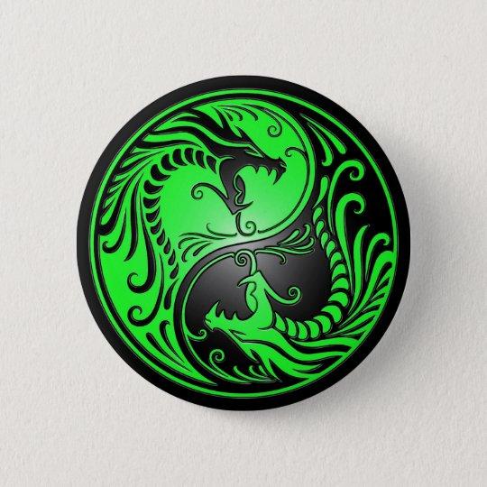 Yin Yang Dragons, green and black Pinback Button