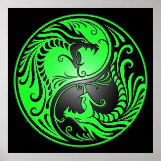 Yin Yang Dragons green and black Poster