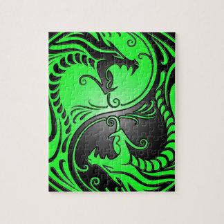 Yin Yang Dragons, green and black Puzzle