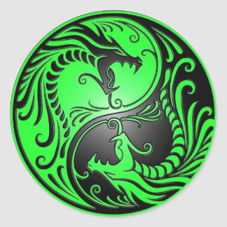 Yin Yang Dragons, green and black Round Sticker