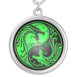 Yin Yang Dragons, green and black Silver Plated Necklace