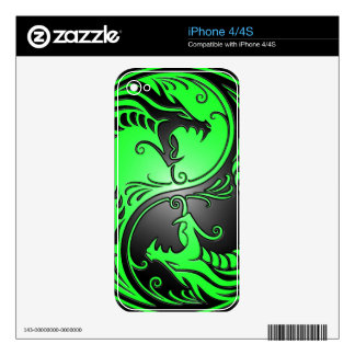 Yin Yang Dragons, green and black Skin For iPhone 4S