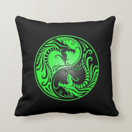Yin Yang Dragons, green and black Throw Pillow