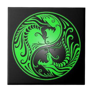Yin Yang Dragons, green and black Ceramic Tiles