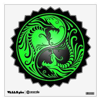 Yin Yang Dragons green and black Wall Skins