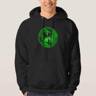Yin Yang Dragons, green Hoodie
