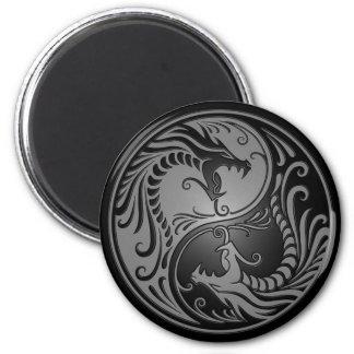 Yin Yang Dragons, grey and black 2 Inch Round Magnet