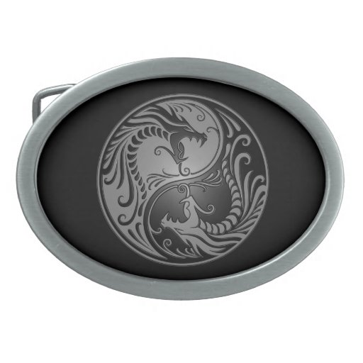 Yin Yang Dragons, grey and black Oval Belt Buckle