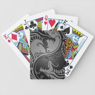 Yin Yang Dragons, grey and black Bicycle Poker Cards