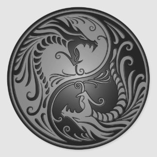 Yin Yang Dragons grey and black Round Stickers