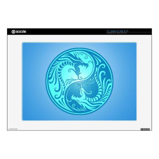 """Yin Yang Dragons, light blue 15"""" Laptop Skin"""