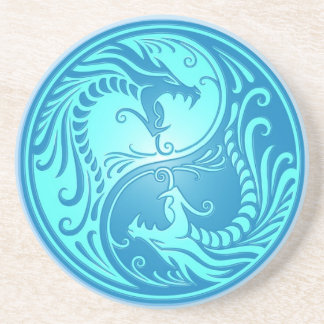 Yin Yang Dragons, light blue Drink Coaster