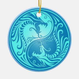 Yin Yang Dragons, light blue Ornament