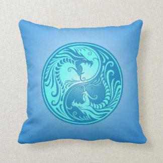 Yin Yang Dragons, light blue Throw Pillow