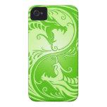 Yin Yang Dragons, light green iPhone 4 Case