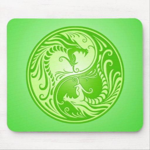 Yin Yang Dragons, light green Mousepads
