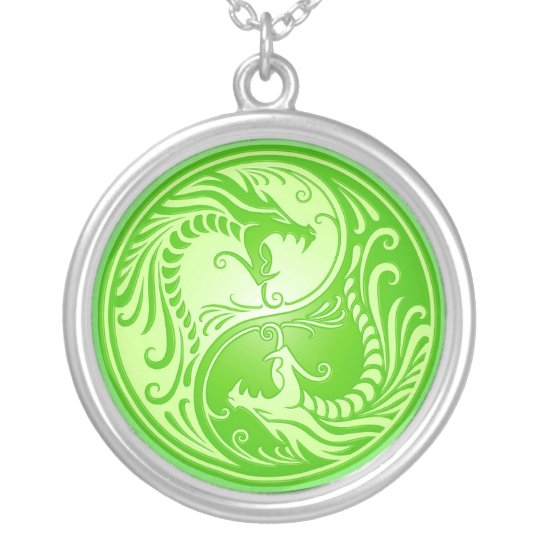 Yin Yang Dragons, light green Silver Plated Necklace