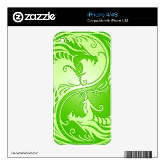Yin Yang Dragons, light green iPhone 4 Skins