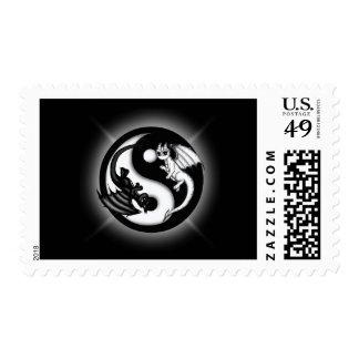 Yin Yang Dragons Postage Stamp