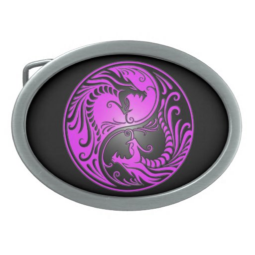 Yin Yang Dragons, purple and black Belt Buckles