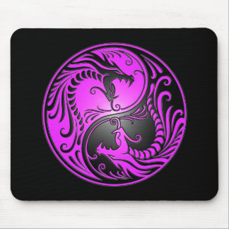 Yin Yang Dragons, purple and black Mouse Pad