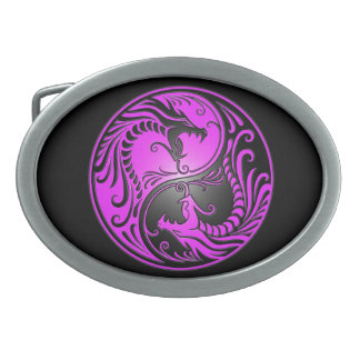 Yin Yang Dragons, purple and black Oval Belt Buckle