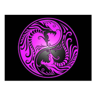 Yin Yang Dragons, purple and black Postcard
