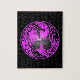 Yin Yang Dragons, purple and black Puzzle