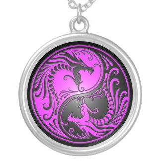 Yin Yang Dragons, purple and black Silver Plated Necklace