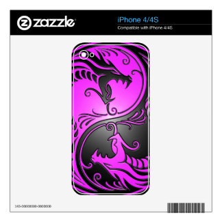Yin Yang Dragons, purple and black Skins For The iPhone 4