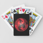 Yin Yang Dragons, red and black Bicycle Playing Cards