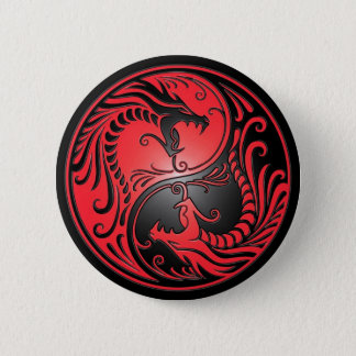 Yin Yang Dragons, red and black Button