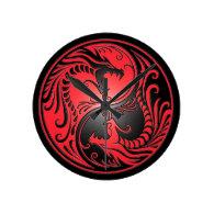 Yin Yang Dragons, red and black Clocks