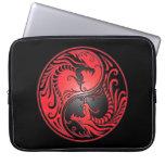 Yin Yang Dragons, red and black Computer Sleeves