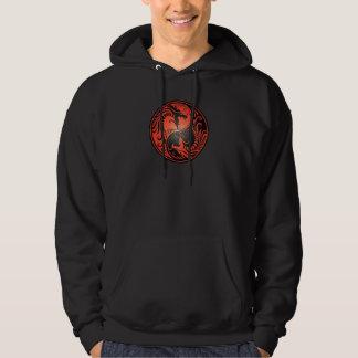 Yin Yang Dragons, red and black Hoodie