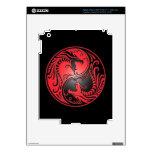 Yin Yang Dragons, red and black iPad 3 Decals
