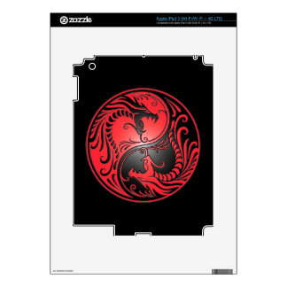 Yin Yang Dragons, red and black iPad 3 Decals