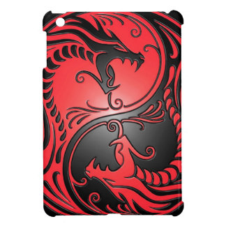 Yin Yang Dragons, red and black iPad Mini Case