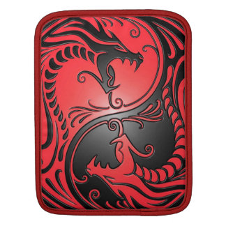 Yin Yang Dragons, red and black iPad Sleeve
