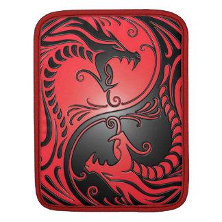 Yin Yang Dragons, red and black iPad Sleeves