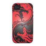 Yin Yang Dragons, red and black iPhone 4/4S Covers