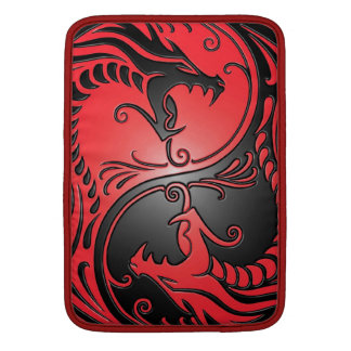 Yin Yang Dragons, red and black MacBook Sleeve