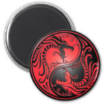 Yin Yang Dragons, red and black 2 Inch Round Magnet