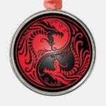 Yin Yang Dragons, red and black Metal Ornament