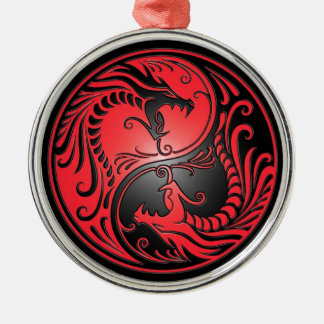 Yin Yang Dragons, red and black Metal Ornament