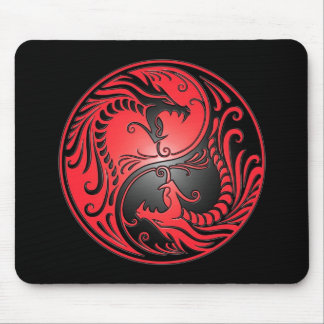 Yin Yang Dragons, red and black Mouse Pad