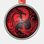 Yin Yang Dragons, red and black Round Metal Christmas Ornament